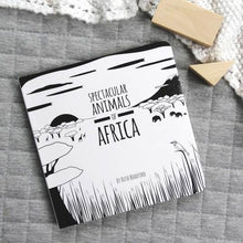 Load image into Gallery viewer, Spectacular animals of Africa black and white book front cover