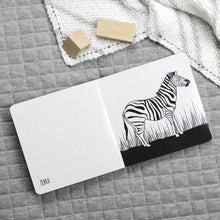 Load image into Gallery viewer, Spectacular animals of Africa black and white book inside page of a zebra