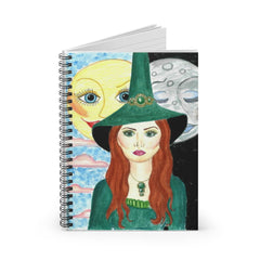Spiral Witch with Sun and Moon Notebook - Ruled Line