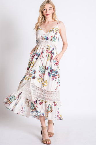 Laced Floral Maxi Dress