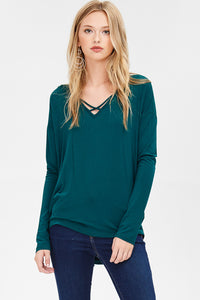 Cross front dolman sleeve