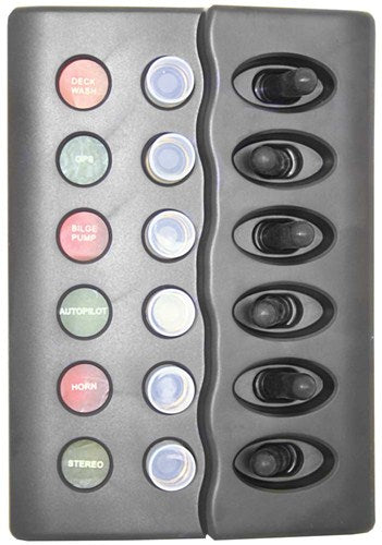 Switch Panels - Waterproof Backlit - 6 Switch With Circuit Breaker