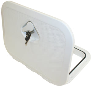 DELUXE MODEL OPENING STORAGE HATCHES - SIZE A, WHITE, FLUSH TYPE WITH KEY LOCK - bosunsboat