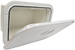 DELUXE MODEL OPENING STORAGE HATCHES - SIZE A, WHITE, WITH STORAGE BOX FITTED - bosunsboat
