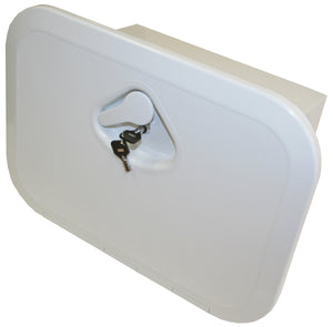DELUXE MODEL OPENING STORAGE HATCHES - SIZE A, WHITE, WITH STORAGE BOX & KEY LOCK - bosunsboat