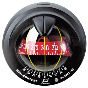 MINI-CONTEST SAILBOAT COMPASS - BLACK WITH RED CARD