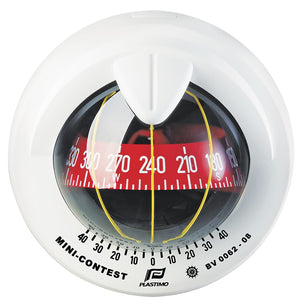 MINI-CONTEST SAILBOAT COMPASS - WHITE WITH RED CARD - bosunsboat