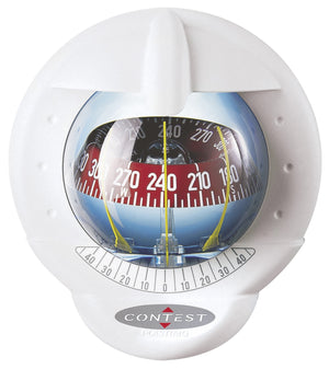 CONTEST 101 SAILBOAT COMPASS - WHITE WITH RED CARD - bosunsboat