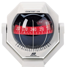 CONTEST 130 SAILBOAT COMPASS - BRACKET MOUNT, WHITE WITH RED CARD - bosunsboat