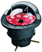 OFFSHORE 135 POWER & SAILBOAT COMPASS - BLACK FLUSH COMPASS WITH RED CARD - bosunsboat