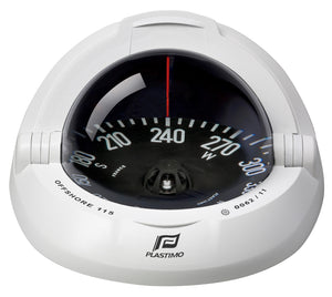 OFFSHORE 115 POWERBOAT COMPASS - FLUSH MOUNT, WHITE, FLAT - bosunsboat