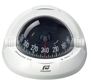 OFFSHORE 115 POWERBOAT COMPASS - FLUSH MOUNT, WHITE, CONICAL - bosunsboat
