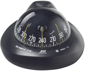 OLYMPIC 115 SAILBOAT COMPASS - FLUSH MOUNT, BLACK WITH BLACK CARD, CONICAL - bosunsboat