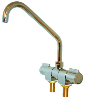 FOLDING TAPS TWIN MIXER - CHROME BRASS