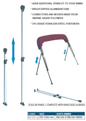 Bimini Telescopic Support Poles OCEANSOUTH - bosunsboat