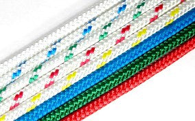Rope - Double Braid 8mmWhite with Red Fleck - Per/Meter - bosunsboat