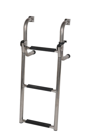 STAINLESS STEEL SHORT BASE LADDER 3 STEP OCEANSOUTH - bosunsboat