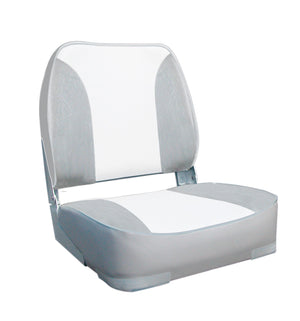 DELUXE FOLD DOWN SEAT UPHOLSTERED GREY/WHITE. OCEANSOUTH - bosunsboat