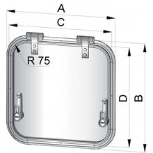 VETUS PLANUS ESCAPE HATCH, CUT-OUT SIZE 471 X 471MM, R=75MM, CATEGORY A II - bosunsboat
