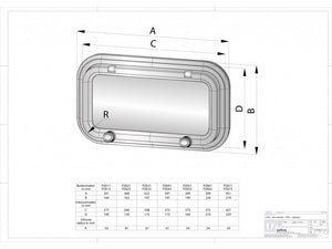 VETUS PORTHOLE, ALUMINIUM, CAT A I, CUT-OUTSIZE 427X250, R=54MM, INCL. MOSQUITO SCREEN PZ671 - bosunsboat