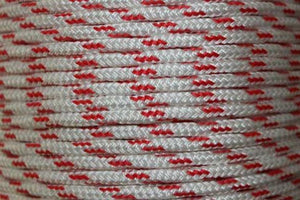 Rope - Double Braid 14mm White with Red Fleck - Per/Meter - bosunsboat