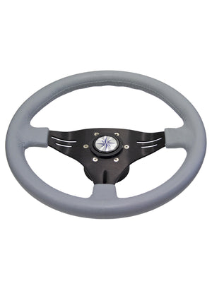ALUMINIUM 3 SPOKE STEERING WHEEL - GREY - bosunsboat