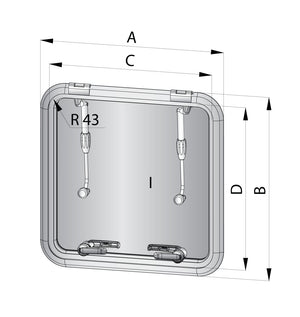 VETUS ESCAPE HATCH ALTUS, CUT OUT SIZE 511 X 511 MM - bosunsboat