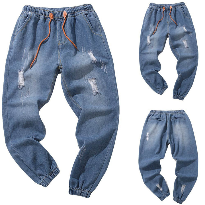 Men's Casual Autumn Denim Cotton Vintage Wash Hip Hop Work Trousers Jeans Pants