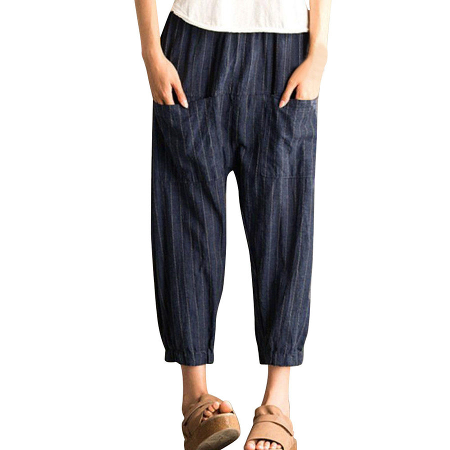 Women Retro Striped High Waist Casual Loose Elastic Trousers Harem Pants