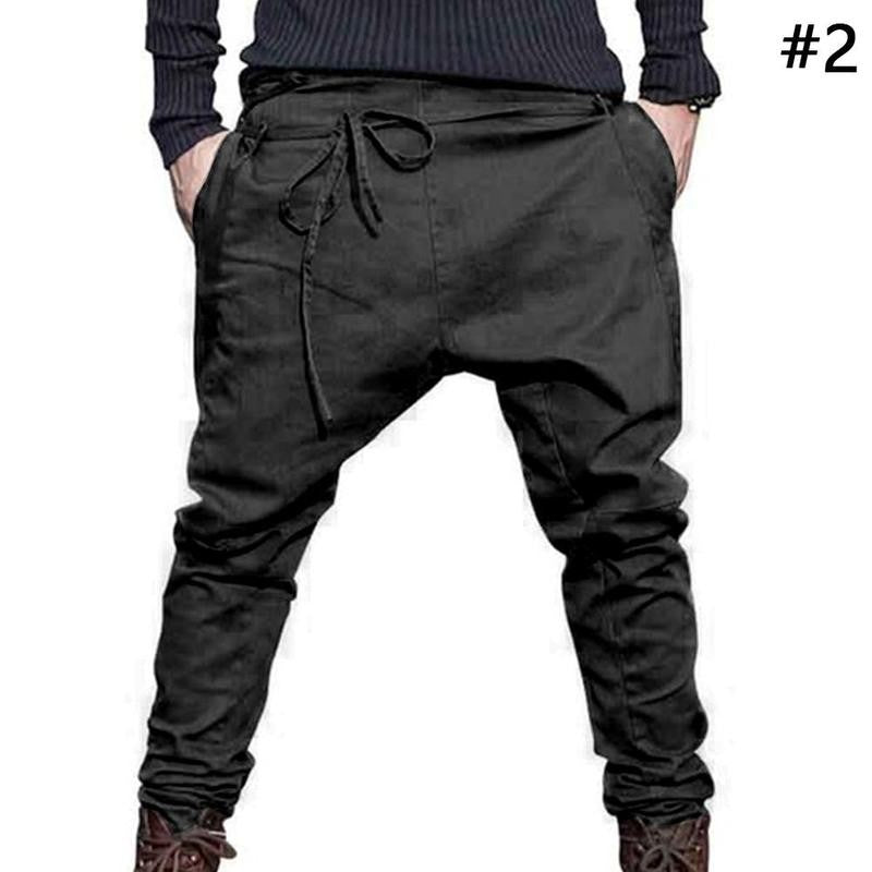 1Pcs Men Harem Pants Brand  Men Trousers Low Crotch Pant Men Joggers Feet Pants Hanging Crotch