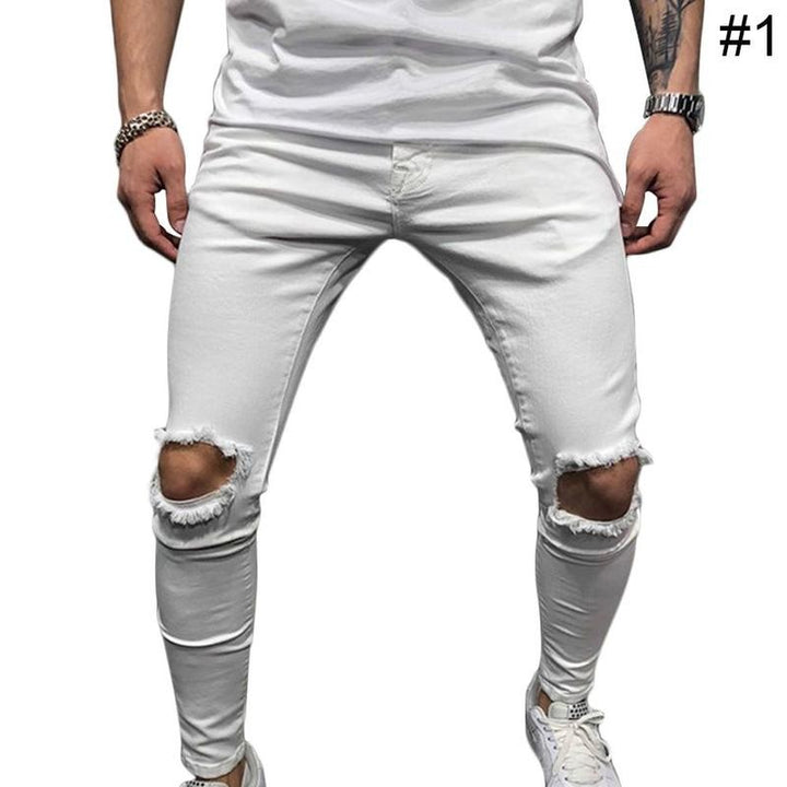 Men Fashion Casual Pants Super Skinny Pant  Leisure Causal Men Stretchy Ripped Skinny Harem Pants Trousers Joggers