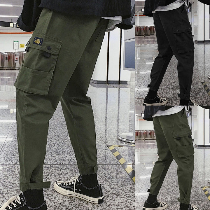 Men's New Pure Colored Loose Multi-pocket Workwear Pants Trousers