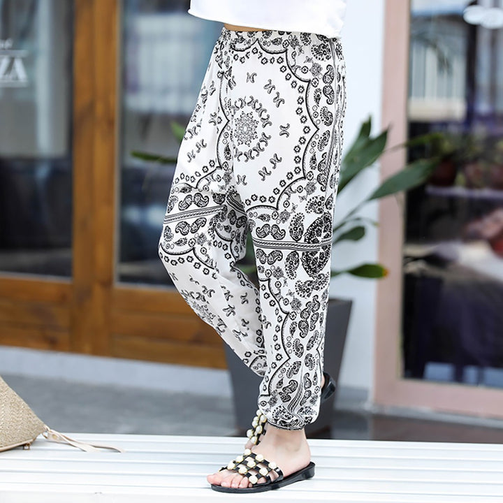 Hot Lantern Pants Or Mosquito Pants White Flower For Men And Women Loose