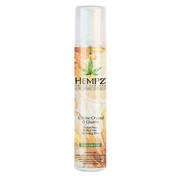 hempz citrine crystal & quartz herbal face, body and hair hydrating mist 5.07oz