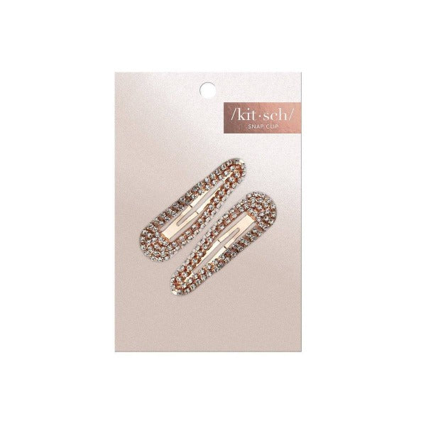 kitsch Mini Rhinestone Snap Clips - Rose Gold