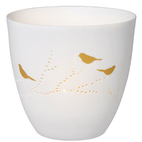 White porcelain tea light holder - birds