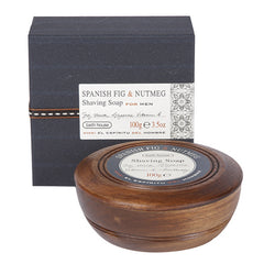 Shaving Soap in Wooden Bowl - Spanish Fig & Nutmeg