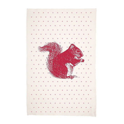 Red Squirrel tea towel