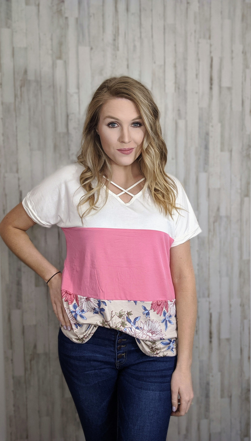 Color and Floral Block Top