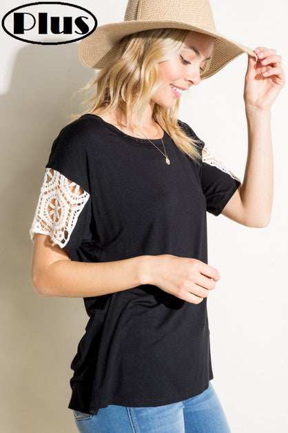 Perfect Black Top with Crochet Detail
