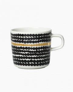Marimekko Oiva 2dL Coffee Mug, Black, White, & Gold