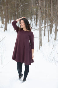 Blondie Apparel 3/4 Sleeve Dress, Merlot