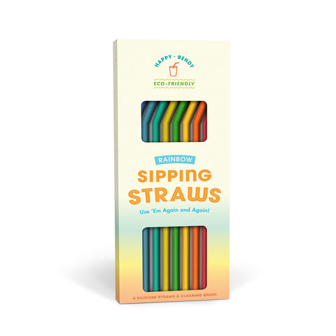 Happy Bendy Sipping Straws, Rainbow, Set of 8