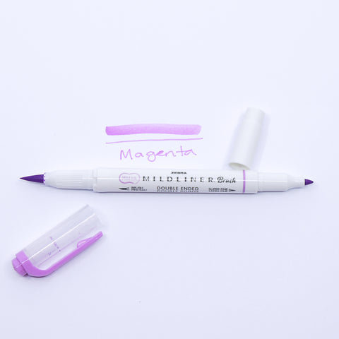 Midliner Double Ended Brush Pen, Magenta