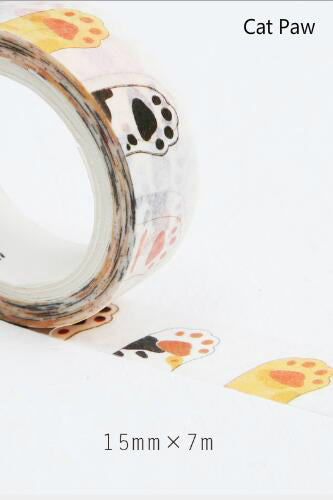 15mm Washi Tape, Cat Paws