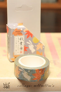 15mm Washi Tape, Autumn Rabbit