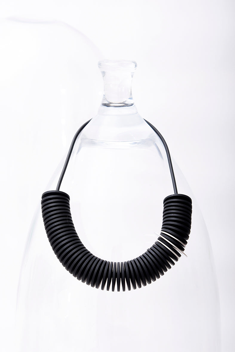 Pursuits Scroll Necklace, Black Silver
