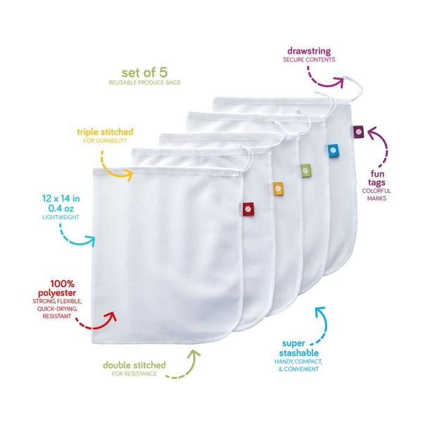 Flip & Tumble Produce Bags, Set of 5
