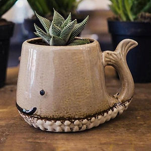Ceramic Whale Mug / Planter, Grey