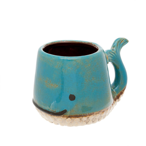 Ceramic Whale Mug / Planter, Blue